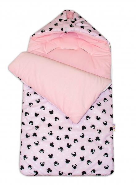 Bavlnený fusak Baby Nellys, velvet, Minnie, 47 x 95 cm - růžová/růžová