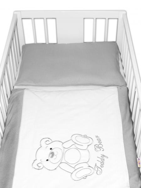 BABY NELLYS Obliečky do postieľky 2D Teddy - jersey - šedá