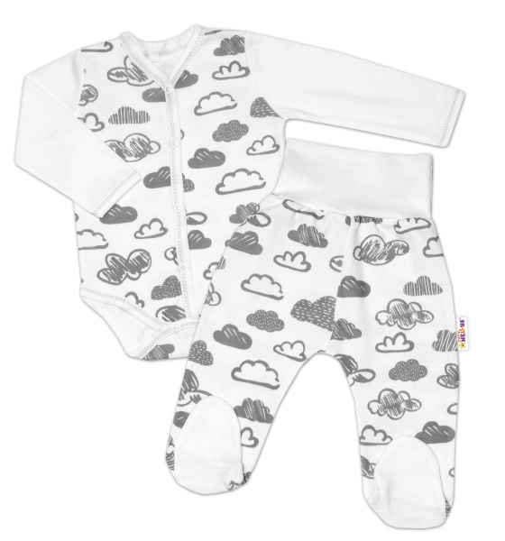 2-dielna dojčenská sada Baby Nellys ® mráčky - biela