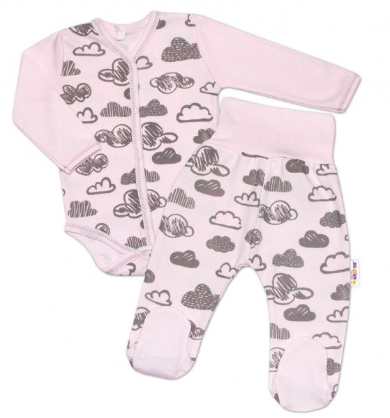 2-dielna dojčenská sada Baby Nellys ® mráčky - růžová, veľ. 62