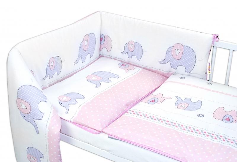 Baby Nellys 3-dielna sada - mantinel s obliečkami Slony - ružové, 120x90 cm