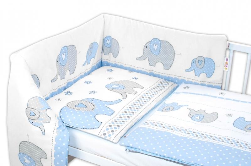 Baby Nellys 3-dielna sada - mantinel s obliečkami Slony - modré, 135x100 cm