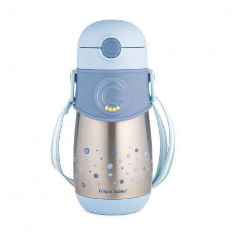 Canpol BabiesTermolahev se silikonovou brčkem 300 ml - modrý