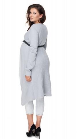 Tehotenský kardigan s páskem - sv. šedý