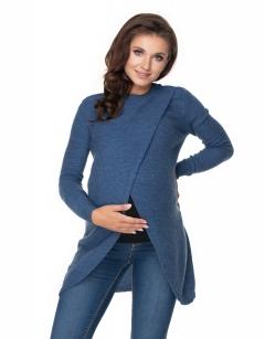 Be Maamaa Tehotenský, dojčiacy svetrík so stojačikom - jeans-UNI