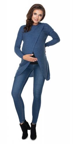 Tehotenský, dojčiaci svetrík so stojačikom - jeans