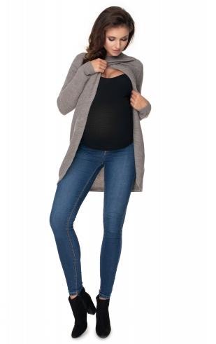 Tehotenský, dojčiaci svetrík so stojačikom - cappuccino