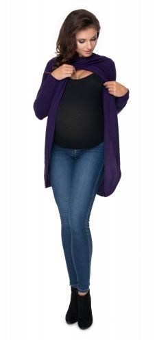 Tehotenský, dojčiaci svetrík so stojačikom - fialový