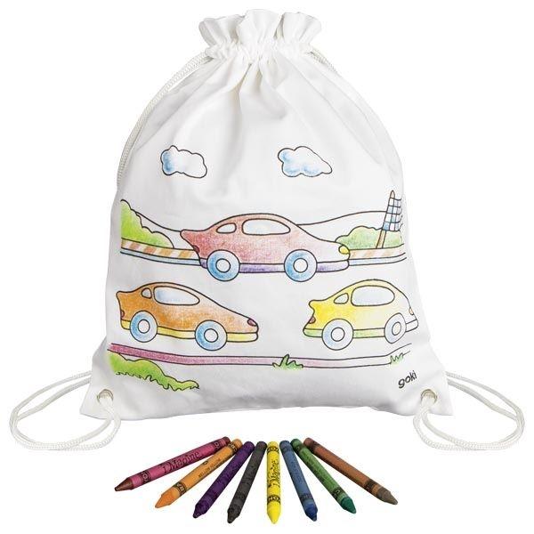 Goki Detský bavlnený vrecúško k vyfarbeniu - Autíčka