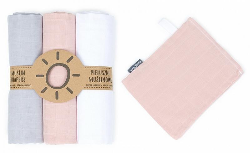 Mamo-Tato mušelínové plienky 3ks + žinka zadarmo - biela, šedá, marhuľová