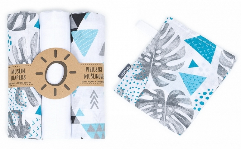 Mamo-Tato mušelínové plienky 3ks + žinka zadarmo - listy, trojúhelník, bílá
