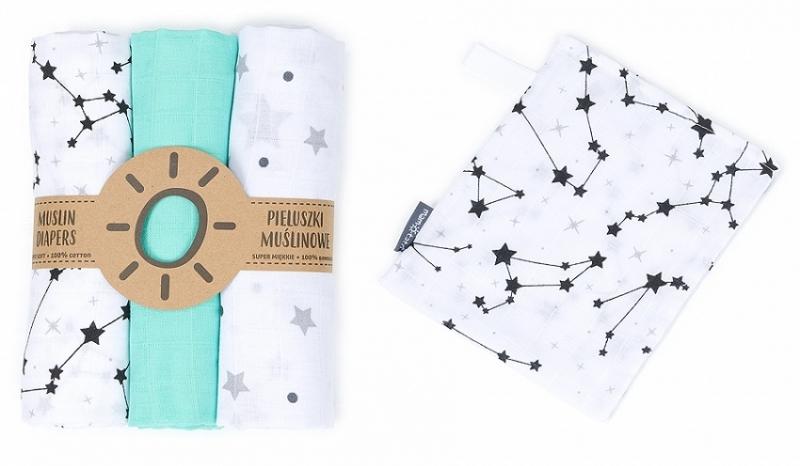 Mamo-Tato mušelínové plienky 3ks + žinka zadarmo - hvězdičky, máta, galaxie