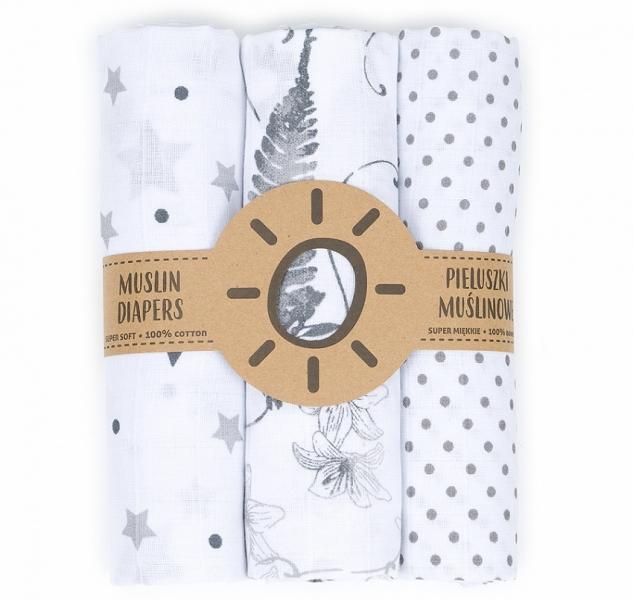 Mamo-Tato mušelínové plienky 3ks + žinka zadarmo - puntíčky, mäta, kvetinky
