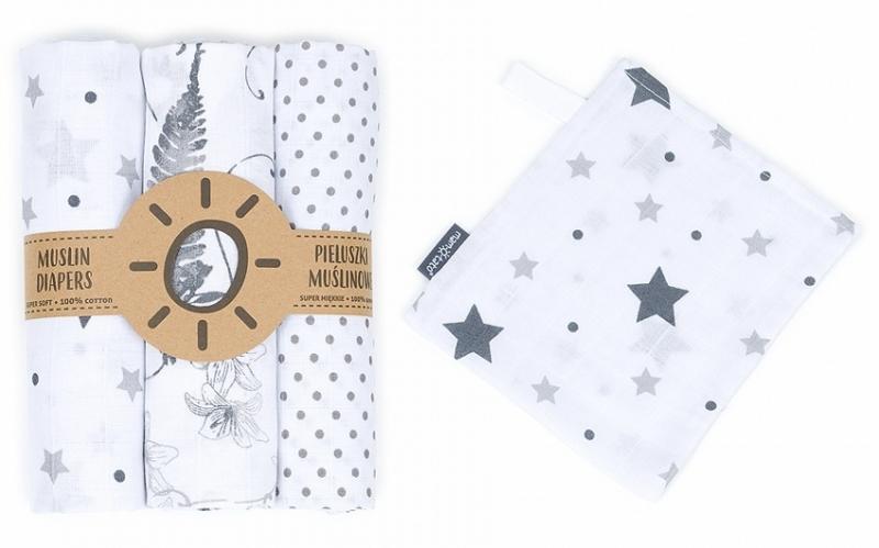 Mamo-Tato mušelínové plienky 3ks + žinka zadarmo - puntíčky, listy, hviezdičky
