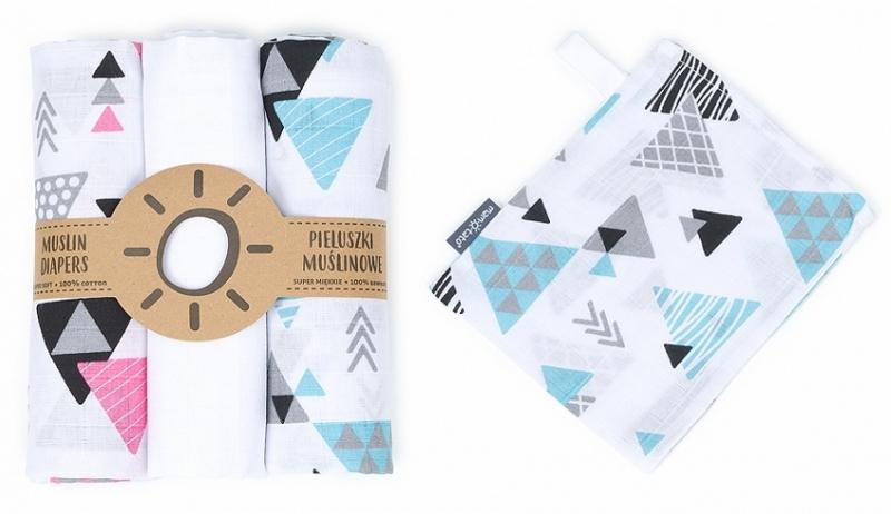 Mamo-Tato mušelínové plienky 3ks + žinka zadarmo - trojuhelníky, bílá