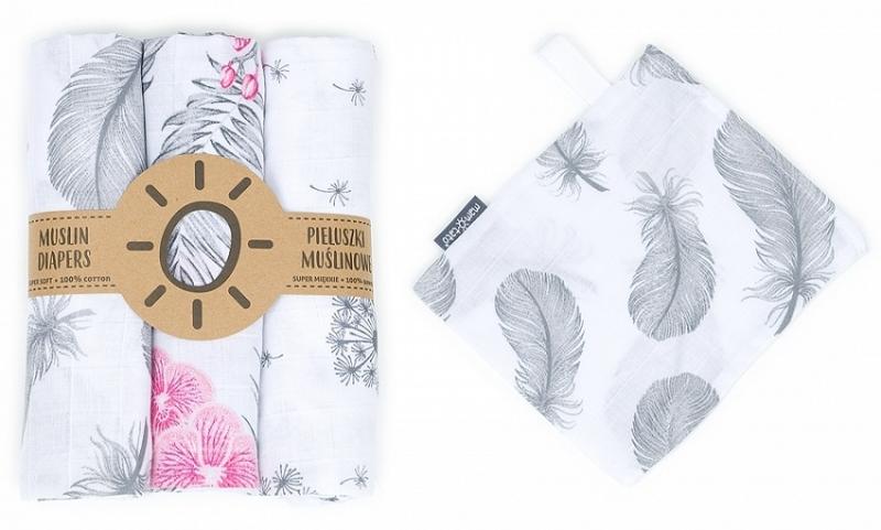 Mamo-Tato mušelínové plienky 3ks + žinka zadarmo - púpava, kvety, pierka