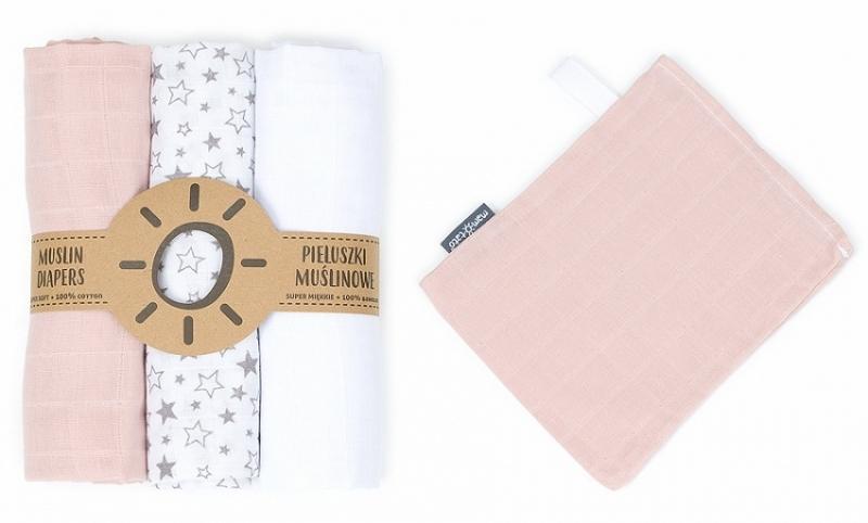 Mamo-Tato mušelínové plienky 3ks + žinka zadarmo - biela, hviezdičky, marhuľa