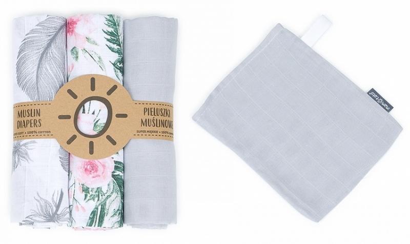 Mamo-Tato mušelínové plienky 3ks + žinka zadarmo - šedá, kvety, pierka