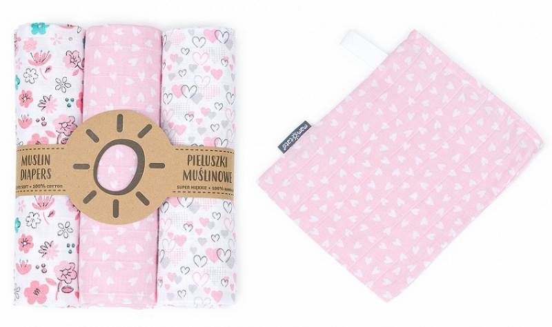 Mamo-Tato mušelínové plienky 3ks + žinka zadarmo - srdíčka, květinky pink