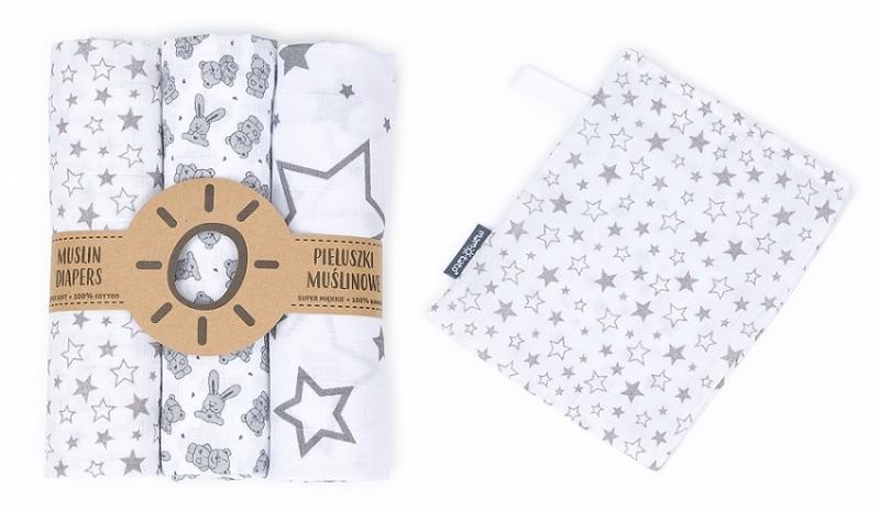 Mamo-Tato mušelínové plienky 3ks + žinka zadarmo - hviezdy, zajačikovia, hviezdičky