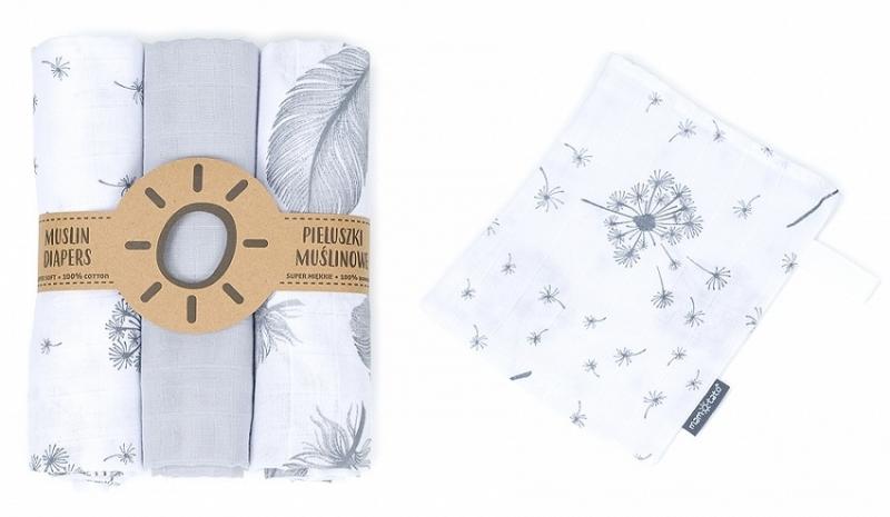 Mamo-Tato mušelínové plienky 3ks + žinka zadarmo - pierka, šedá, púpavy