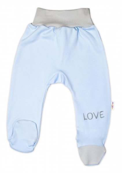 Baby Nellys Dojčenské polodupačky, modré - Love, veľ. 62