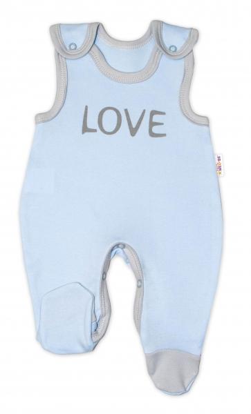 Dojčenské bavlnené dupačky  Love - modré, veľ 50