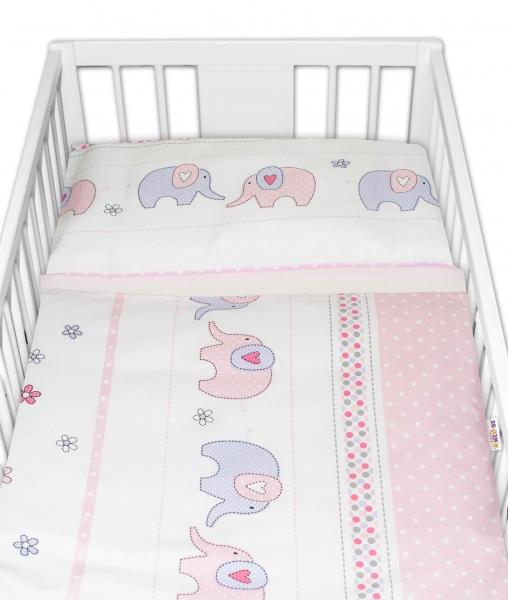 2-dielne bavlnené obliečky Baby Nellys Sloni - ružové  120x90 cm