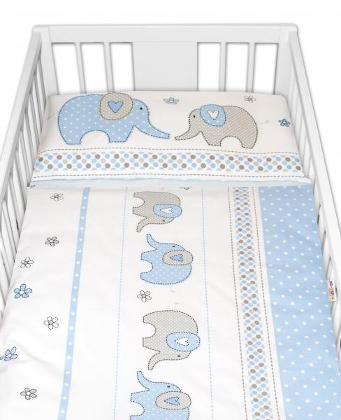 2-dielne bavlnené obliečky Baby Nellys Sloni - modré  120x90 cm
