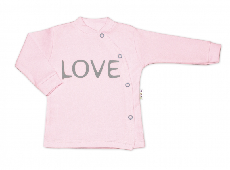Baby Nellys Bavlnená košieľka Love zapínanie bokom - ružová, veľ. 62-#Velikost koj. oblečení;62 (2-3m)