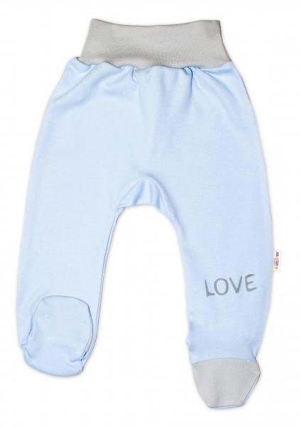 Baby Nellys Dojčenské polodupačky, modré - Love, veľ. 68-68 (4-6m)