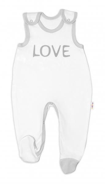 Dojčenské bavlnené dupačky Love - biele, veľ 50