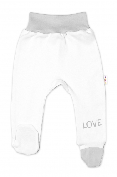 Baby Nellys Dojčenské polodupačky, biele - Love, veľ. 50