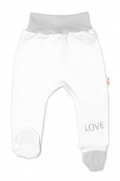 Baby Nellys Dojčenské polodupačky, biele - Love, veľ. 74