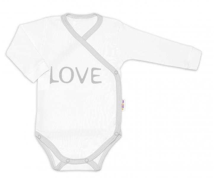 Kojenecké body dlhý rukáv Love - zapínanie bokom, biele, veľ 50