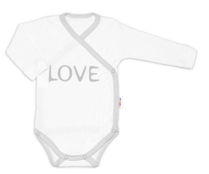 Baby Nellys Body dlhý rukáv Love - zapínanie bokom, biele, veľ. 56