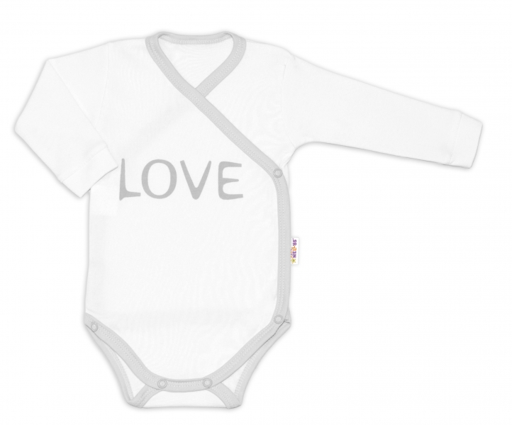 Baby Nellys Body dlhý rukáv Love - zapínanie bokom, biele, veľ. 62