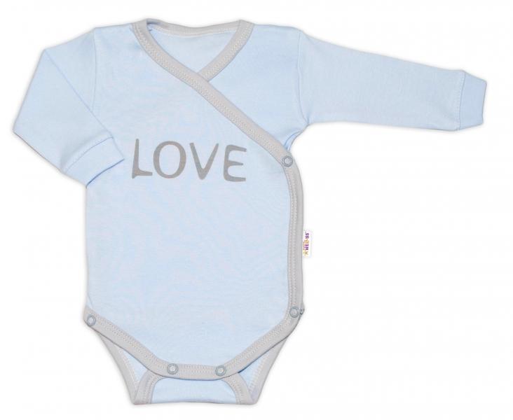 Baby Nellys Body dlhý rukáv Love - zapínanie bokom, modré, veľ. 68