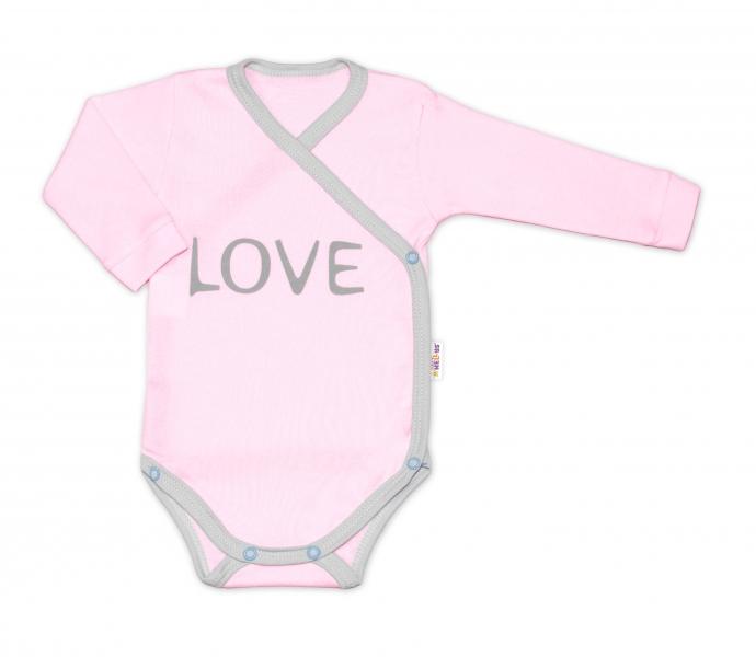 Baby Nellys Body dlhý rukáv Love - zapínanie bokom, ružové-#Velikost koj. oblečení;50 (0-1m)