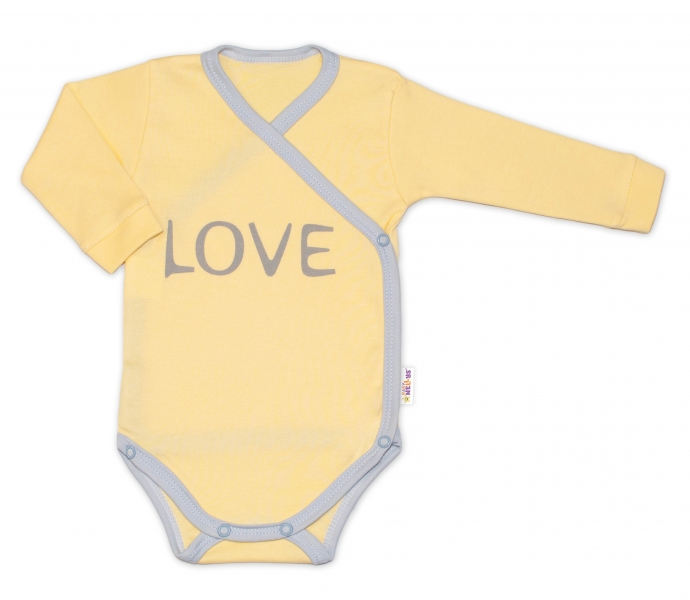 Kojenecké body dlhý rukáv Love - zapínanie bokom, žlté, vel. 62
