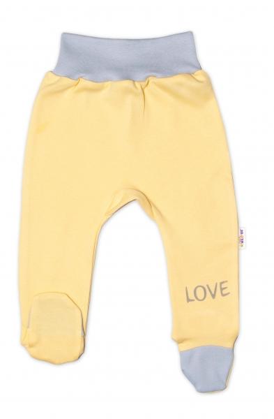 Baby Nellys Dojčenské polodupačky, žlté - Love, veľ. 62