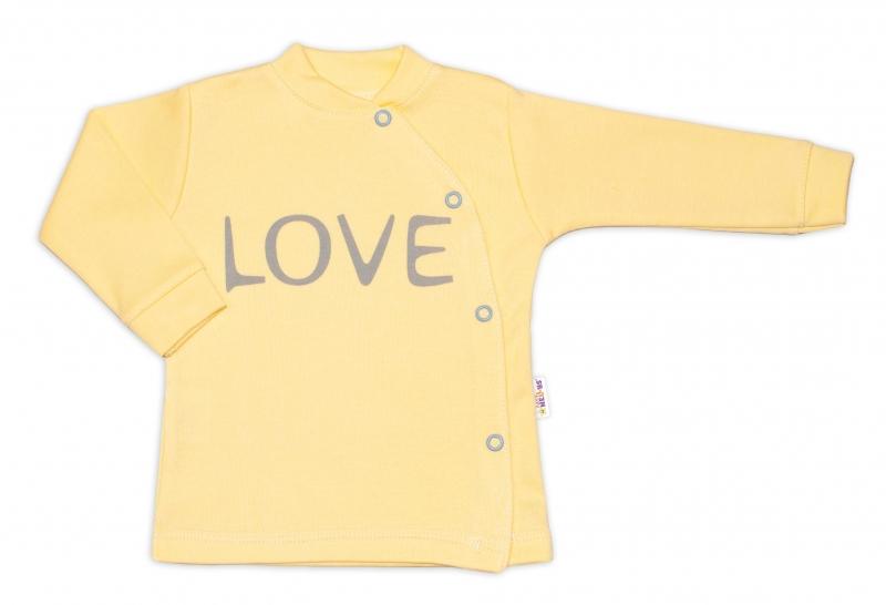 Baby Nellys Bavlnená košieľka Love zapínanie bokom - žltá, vel. 56-56 (1-2m)