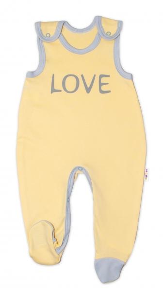 Dojčenské bavlnené dupačky Love - žlté, veľ. 62