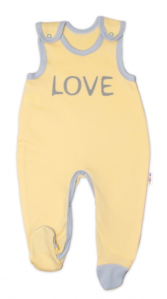 Dojčenské bavlnené dupačky Baby Nellys, Love - žlté, veľ. 74