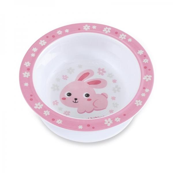 Canpol babies Melamínová miska s prísavkou Zajačik - ružový
