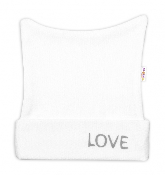 Novorodenecká čiapočka Love - biela, veľ 50