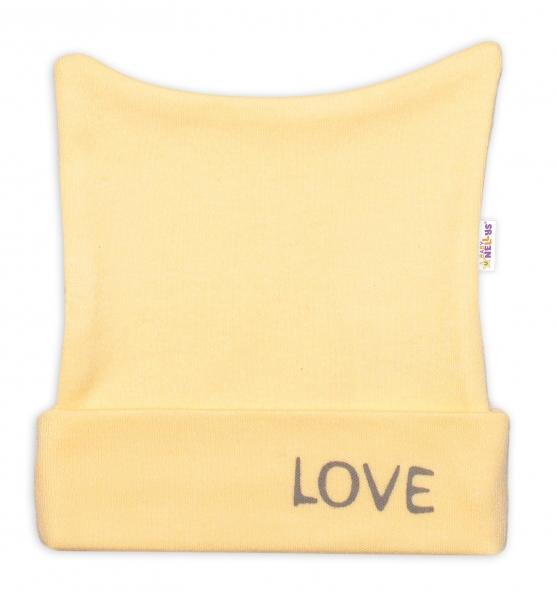Novorodenecká čiapočka Baby Nellys, Love - žltá, veľ. 56