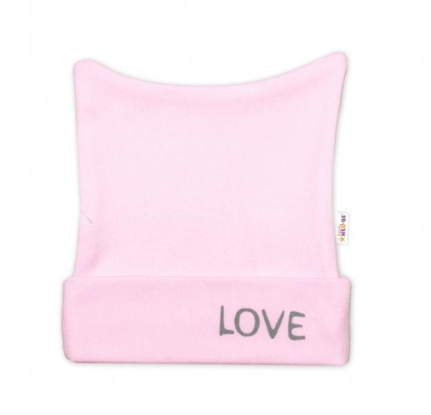 Novorodenecká čiapočka Baby Nellys, Love - ružová-50 (0-1m)