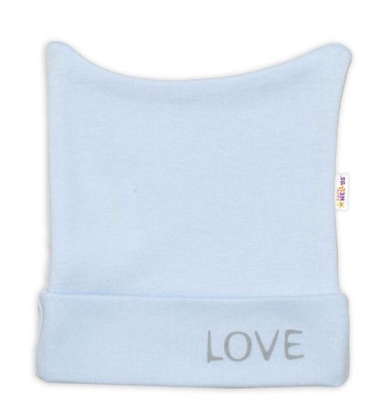 Novorodenecká čiapočka Baby Nellys, Love - modrá-50 (0-1m)