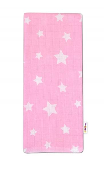 Baby Nellys Kvalitná bavlnená plienka - Tetra Premium, 70x80cm - Hvezdičky biele na ružové